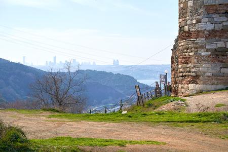 ISTANBUL, TURKEY - FEBRUARY 13, 2014: Yoros Castle, Bosphorus Anatolian Side, Anadolu Kavagi, Istanbul Turkey.