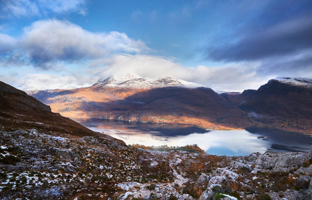 Loch Maree and summits of Sgurr an Tuill Bhain and Coire na Sleaghaich from Beinn Eighe in the Scottish Highlands.