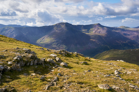 cumbria: Views of High Stile and Red Pike from the summit of Robinson in the Lake District, England, UK.