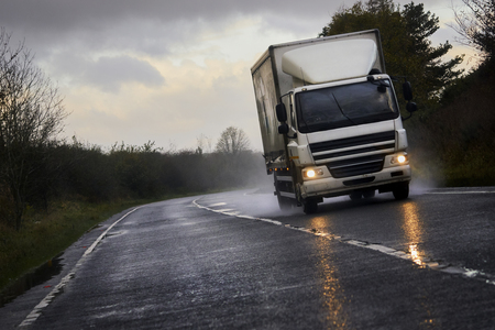 A truck transporting goods along the A1 motorway, England UK.