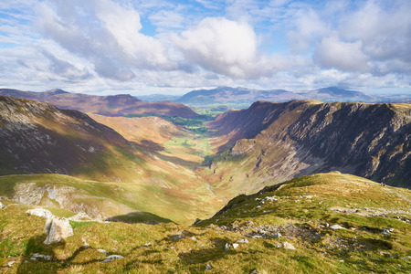 Views of Newlands Beck, High Spy, Narrow Moor and Maiden Moor in the Derwent Fells from the summit of Dale Head, Lake District, England, UK.