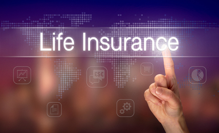 A hand selecting a Life Insurance business concept on a clear screen with a colorful blurred background.