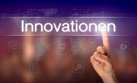 A businessman pressing a Innovations