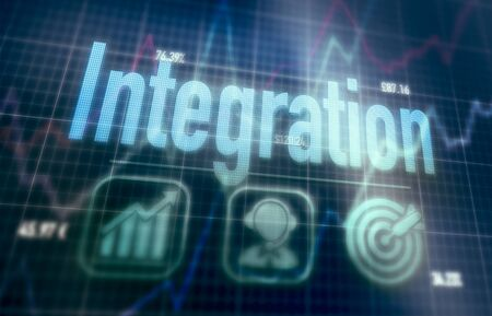 Integration concept on a blue dot matrix computer display.