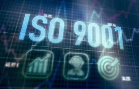 ISO 9001 concept on a blue dot matrix computer display.