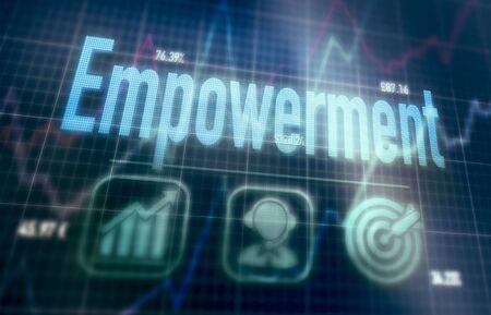 Empowerment concept on a blue dot matrix computer display.