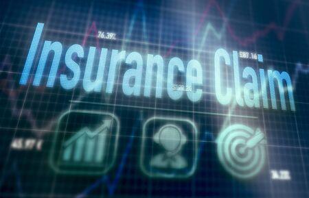 Concept de réclamation d'assurance sur un écran d'ordinateur matriciel bleu.
