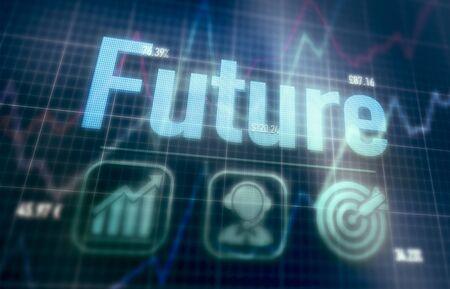 Concept futur sur un écran d'ordinateur matriciel bleu. Banque d'images