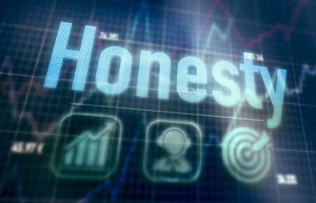 Honesty concept on a blue dot matrix computer display. Stock Photo