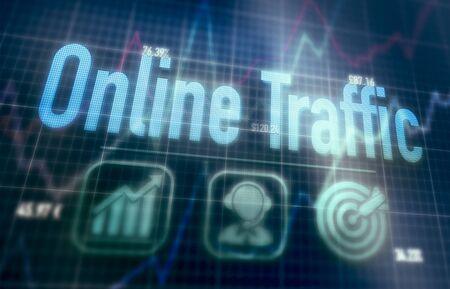 Online Traffic concept on a blue dot matrix computer display. 免版税图像