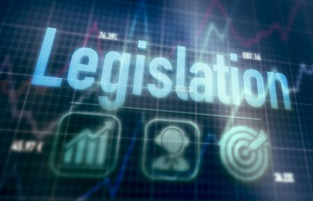 Legislation concept on a blue dot matrix computer display.