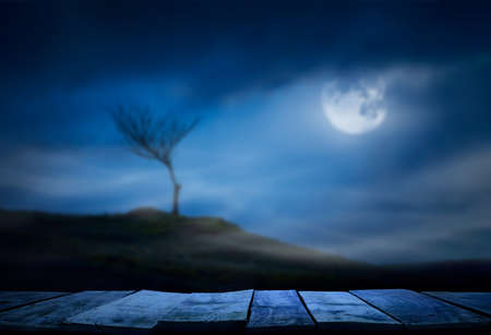 A halloween spooky lone bare branch tree in an isolated moors landscape at night with a full moon and clouds in a blue winter night sky with a wooden table, bench for product placement.