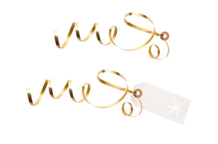 Gift tags and label template with gold ribbon attached to add to presents, Christmas or birthday gifts isolated against a white background.