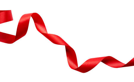 A curly red ribbon for Christmas and birthday present banner isolated against a white background.
