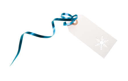 Gift tags and label template with blue ribbon attached to add to presents, Christmas or birthday gifts isolated against a white background.