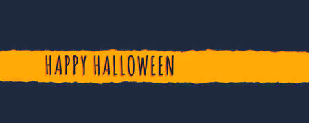 The words Happy Halloween on a textured paper tear with a blank space for product placement on dark blue banner background