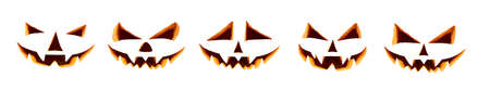 Five unlit halloween cut out faces isolated against a white background ready to be used on daytime pumpkins. Stock Photo