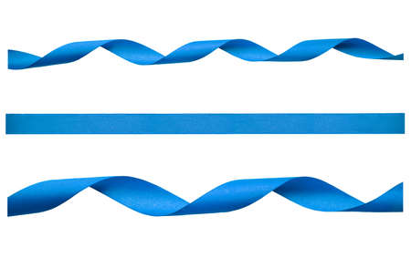 A set of curly blue ribbon for Christmas and birthday present isolated against a white background.