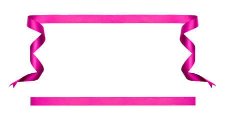 A curly pink ribbon Christmas and birthday present banner set isolated against a white background. Stockfoto