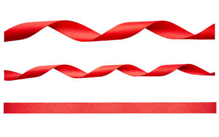 A set of curly red ribbon for Christmas and birthday present isolated against a white background. Stockfoto