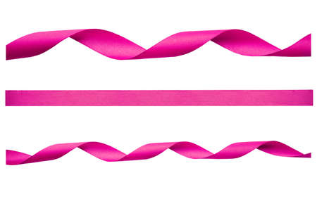 A set of curly pink ribbon for Christmas and birthday present isolated against a white background. Stockfoto