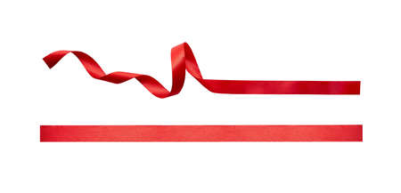 A curly red ribbon Christmas and birthday present banner set isolated against a white background.
