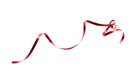 A thin curly red ribbon for Christmas and birthday present tag loop isolated against a white background. Stockfoto