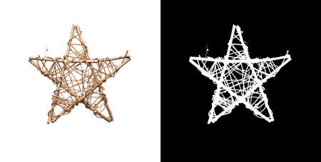 A gold Christmas star decoration made from branches painted gold isolated against a white background and including a cutout mask.