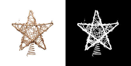 A gold Christmas tree star decoration made from branches painted gold isolated against a white background and including a cutout mask. Stockfoto