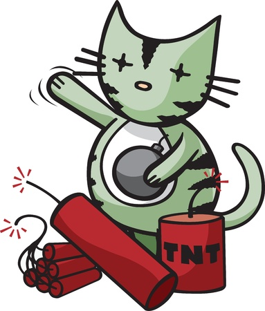 Cartoon Cat ready to end it all  Layered vector and high resolution jpeg files available