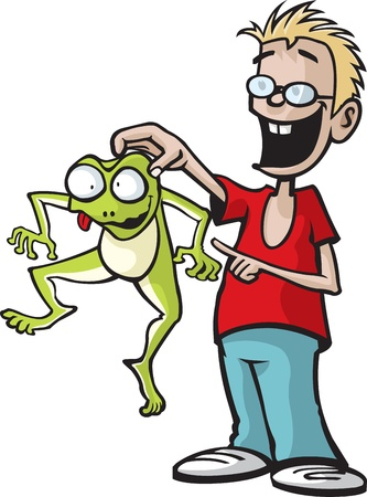 Cartoon boy who has caught a frog  Vector and high resolution jpeg files available
