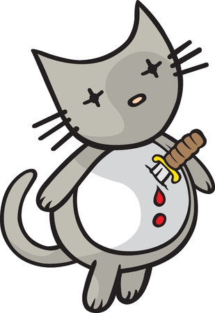 goodbye: A cartoon cat ready to end it all  Layered vector and high resolution jpeg files available
