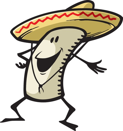 A happy cartoon Burrito, enchilada, tamale, etc  Vector and high resolution jpeg files available  Illustration