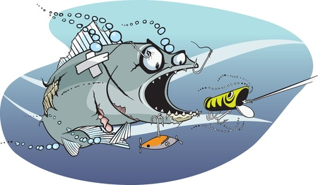 Cartoon Fish  Meanest, nastiest fish in the lake  Layered vector and high resolution jpeg files available  Vector