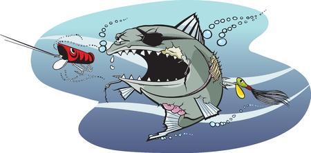 만화 물고기 호수에서 가장 중요 한, nastiest 물고기 계층화 된 벡터 및 고해상도 jpeg 파일을 사용할 수