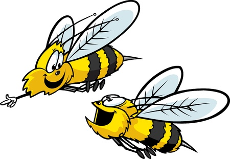 Two cartoon Bees having fun  Layered vector and high resolution jpeg files available
