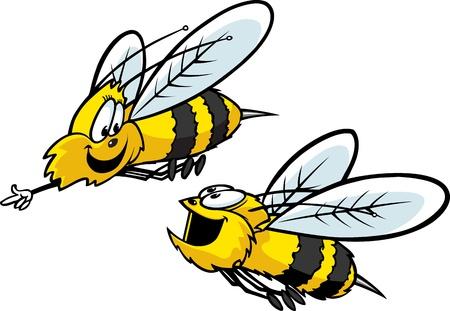 Due api del fumetto divertirsi livelli vettoriali ad alta risoluzione e file JPEG Disponibile Archivio Fotografico - 16482298