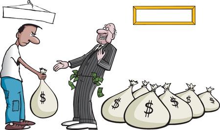 Cartoon van een hebzuchtige bankier Gelaagde vector en hoge resolutie jpeg-bestanden Vector Illustratie
