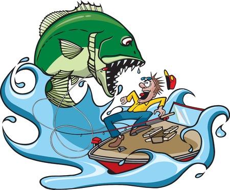 Caricatura de un gran pez, desagradable que salta en un Vector pescador y de alta resolución de los archivos JPEG Foto de archivo - 16482185