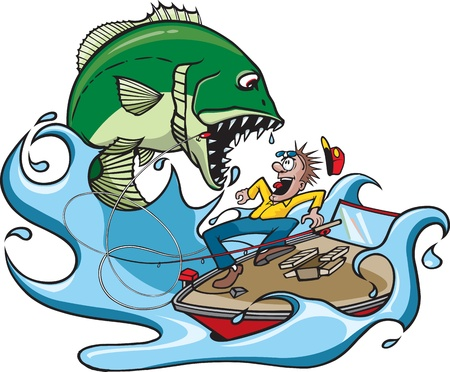 vicious: Cartoon of a large, nasty fish jumping at a fisherman  Vector and high resolution jpeg files available