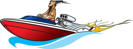 speed boat: Cartoon Boat freak  Vector and high resolution jpeg files available  Illustration