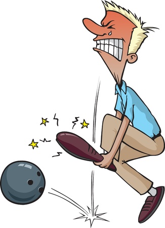 alleys: Cartoon of a Man dropping a bowling ball on his foot  Layered vector file and high resolution jpg files available