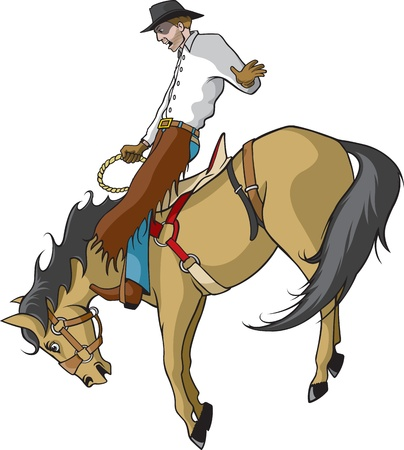 bucking horse: Illustrated saddle bronc rider  Vector and high resolution jpegs are available