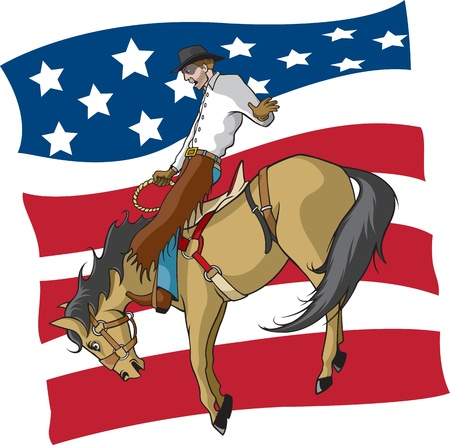 bucking horse: Illustrated saddle bronc rider  Vector and high resolution jpegs are available  Illustration