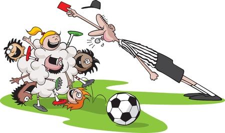 子供たちのサッカーの子供の束、審判、ボール、草を演奏のベクトルの漫画はすべて別々 のレイヤーに
