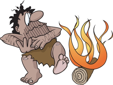 neanderthal: Vector and high resolution jpeg files are available  Caveman and fire are on separate layers  Illustration