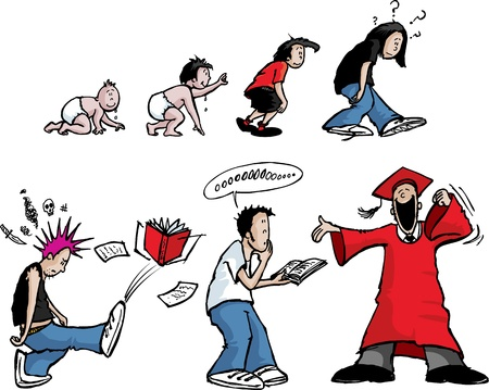 Cartoon of the evolution of a child  Layered vector and high resolution jpeg files available