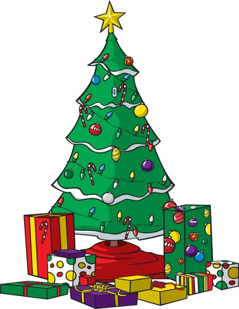 A vector cartoon Christmas tree with ornaments, lights and presents  Tree, ornaments, lights and each individual present are all on separate layers  Two layers for lights,  on or off   Move presents around and redecorate the tree   Vettoriali