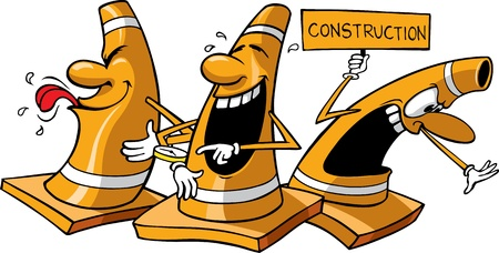 3 つはすべて 3 つの 3 つのベクトル漫画工事のコーン ベクトル漫画オレンジ工事のコーンは、別々 のレイヤーに利用可能なラスター ファイルもすべ