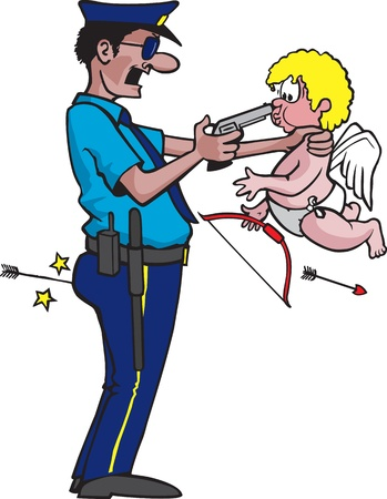 A cartoon police officer reading Cupid his rights  Vector and Hi res files available  Çizim